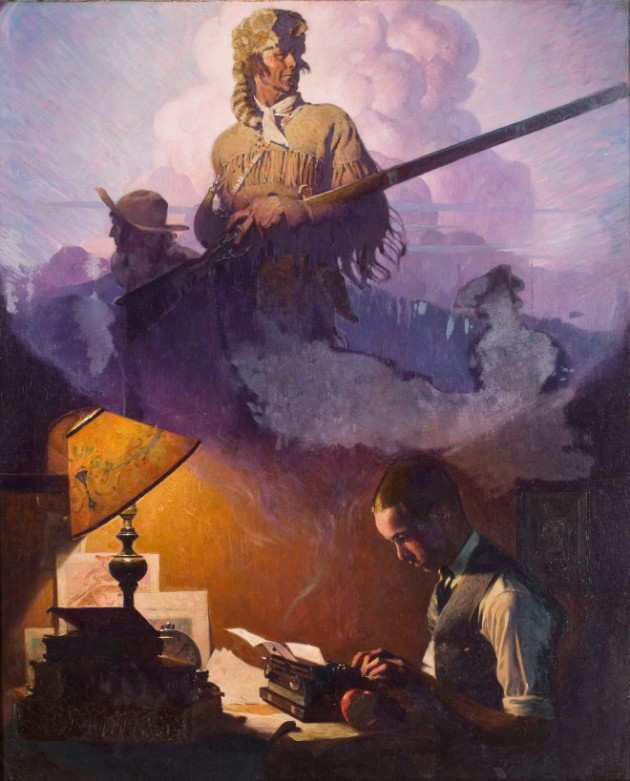 Norman Rockwell - And Daniel Boone Comes to Life on the Underwood Portable (1923)